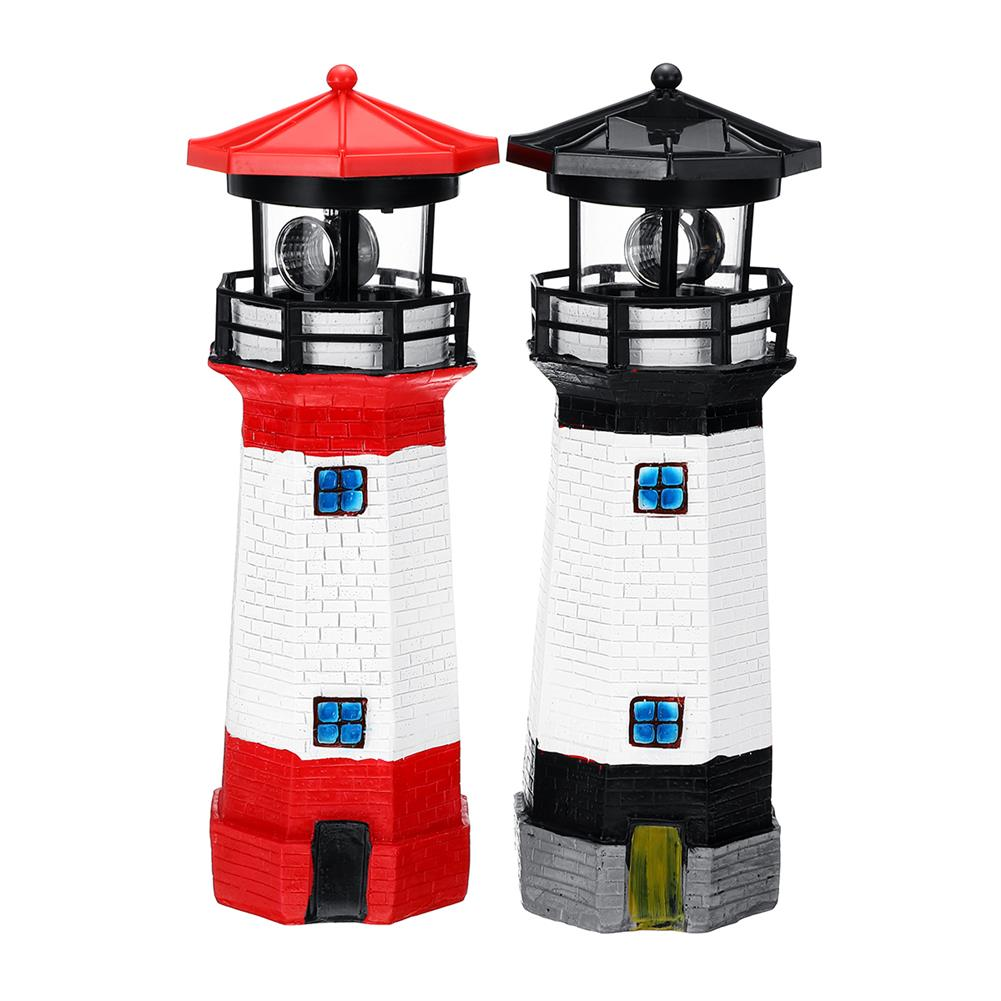 other-learning-office-supplies Solar Powered LED LightHouse Resin Red/Blue/Black Rechargable Lighthouse for Home Garden Decoration HOB1771248 1