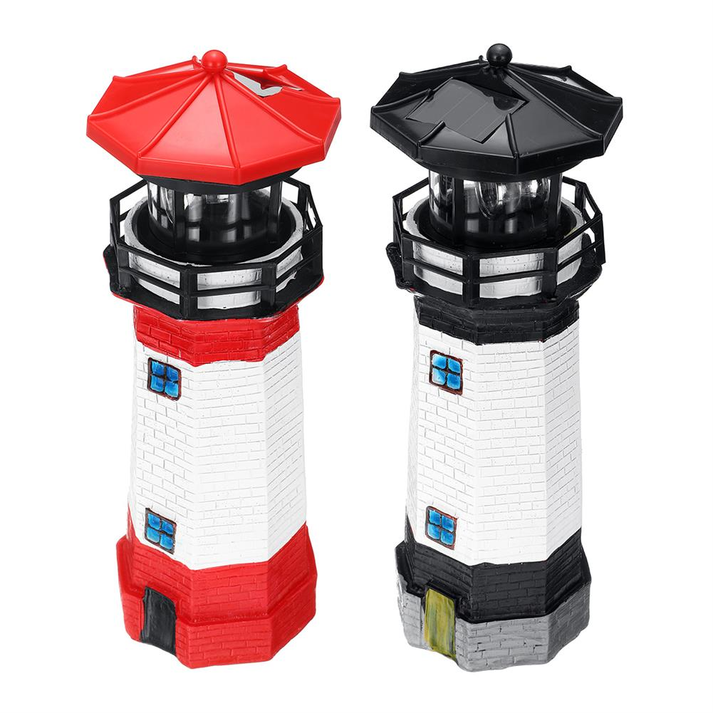 other-learning-office-supplies Solar Powered LED LightHouse Resin Red/Blue/Black Rechargable Lighthouse for Home Garden Decoration HOB1771248 1 1