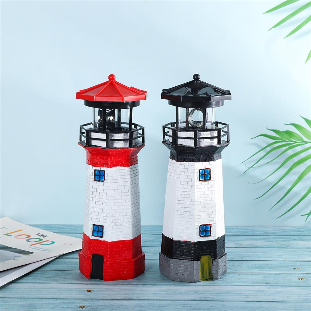 other-learning-office-supplies Solar Powered LED LightHouse Resin Red/Blue/Black Rechargable Lighthouse for Home Garden Decoration HOB1771248 2 1