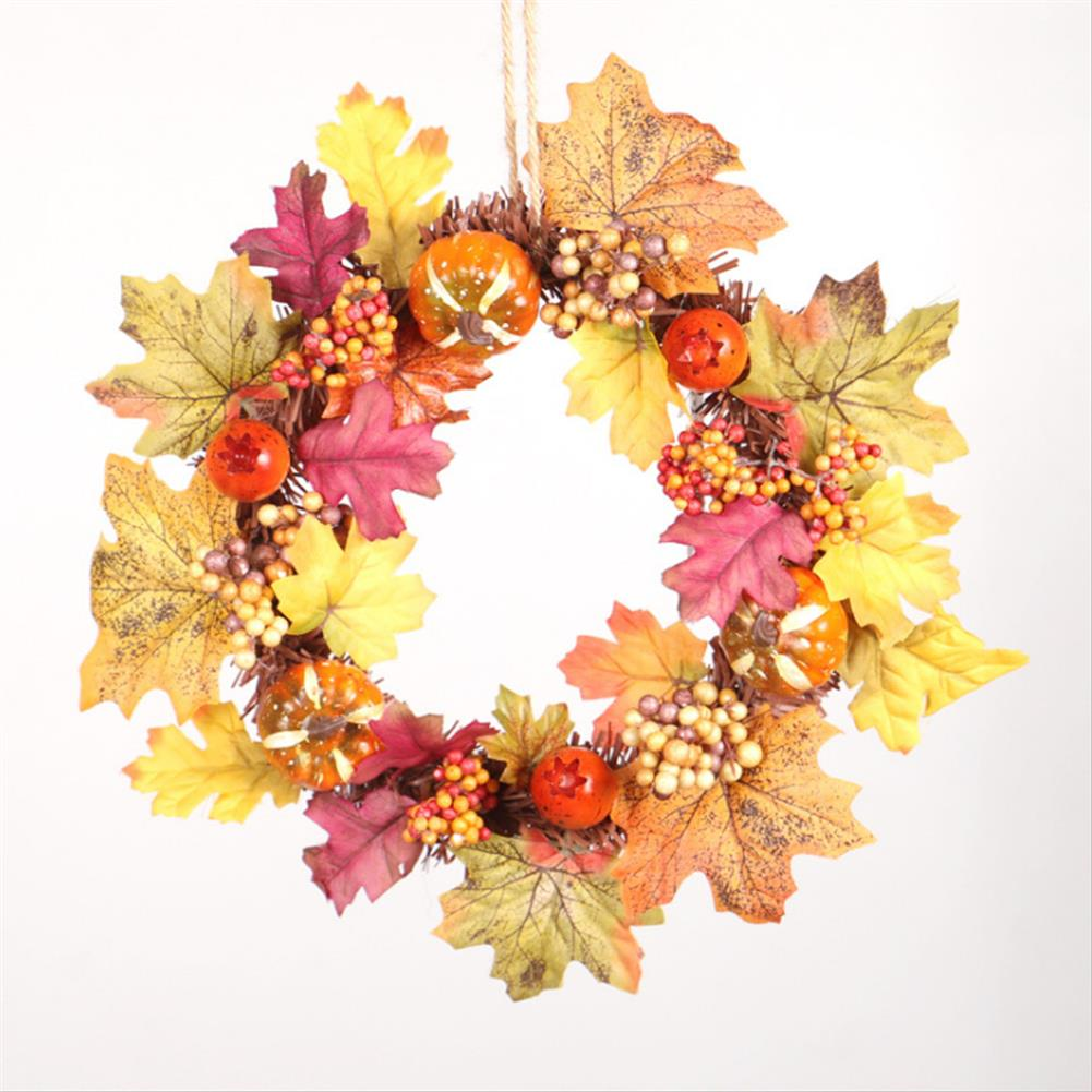other-learning-office-supplies Pumpkin Flower Wreath Maple Leaves Silk an Plastic Harvest Celebrating Halloween Thanksgiving Gifts Home Door Decoration HOB1771327 1