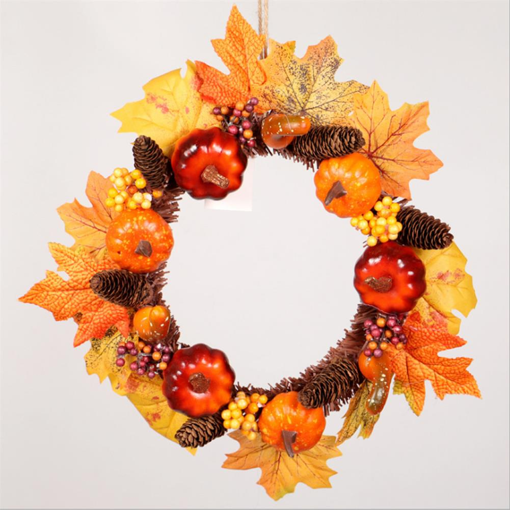 other-learning-office-supplies Pumpkin Flower Wreath Maple Leaves Silk an Plastic Harvest Celebrating Halloween Thanksgiving Gifts Home Door Decoration HOB1771327 1 1