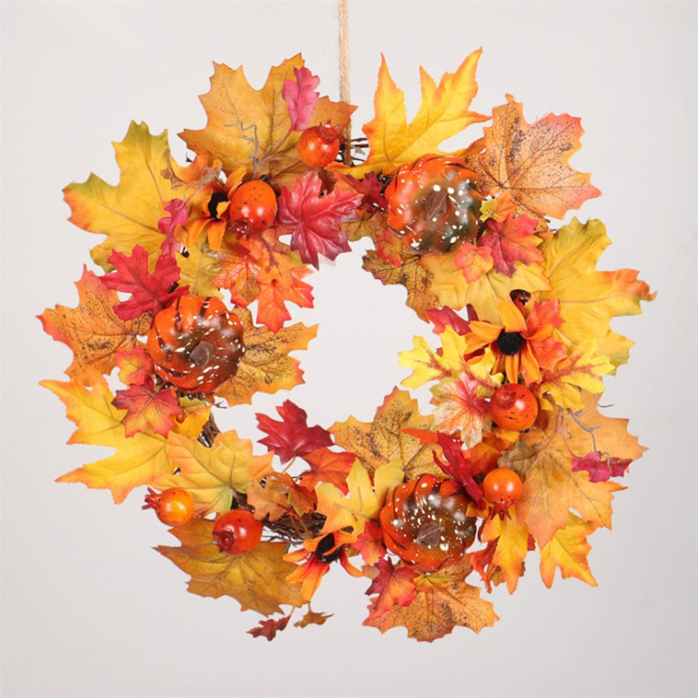 other-learning-office-supplies Pumpkin Flower Wreath Maple Leaves Silk an Plastic Harvest Celebrating Halloween Thanksgiving Gifts Home Door Decoration HOB1771327 2 1