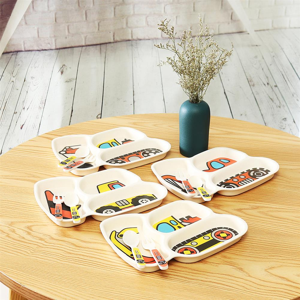other-learning-office-supplies 3Pcs Children`s Tableware Plate Spoon fork Set Non-Toxic Plastic Vehicle theme Dinner Plate for Children Kids HOB1771359 3 1