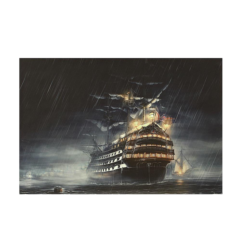 art-kit 1 Piece Canvas Print Painting Rainy Night Sailing Boat Wall Decorative Art Picture Frameless Wall Hanging Home office Decoration HOB1771490 1