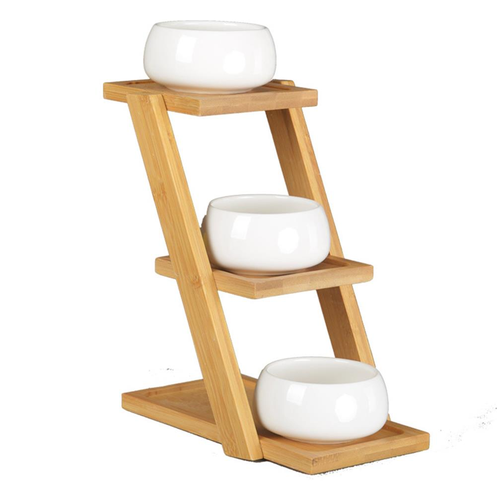 other-learning-office-supplies Bamboo Plant Stand Planter Holder 3 Layers with Ceramic Flower Pot Shelf Rack Phone Stand for Home Decoration HOB1771547 1