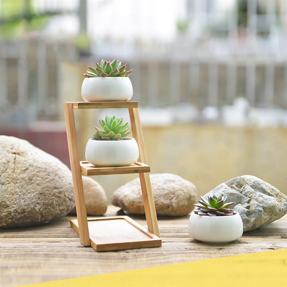 other-learning-office-supplies Bamboo Plant Stand Planter Holder 3 Layers with Ceramic Flower Pot Shelf Rack Phone Stand for Home Decoration HOB1771547 1 1