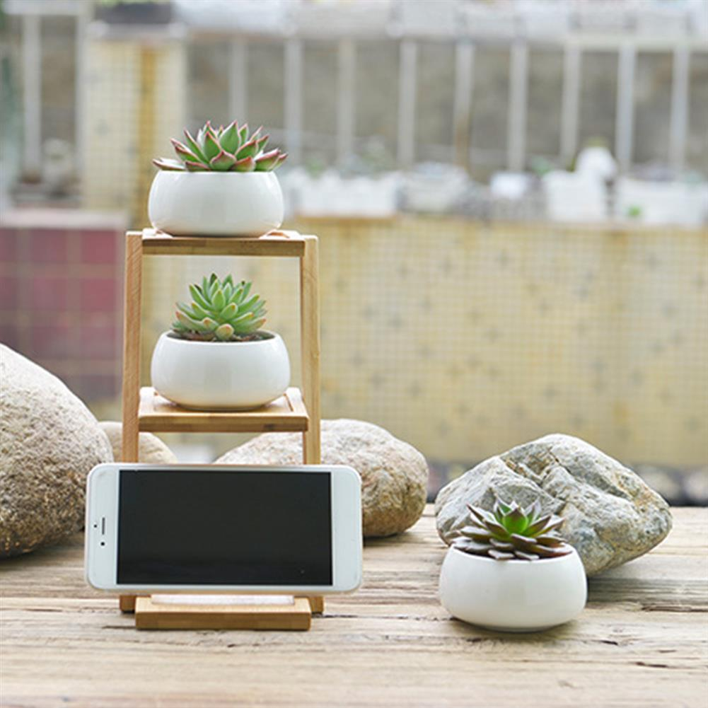 other-learning-office-supplies Bamboo Plant Stand Planter Holder 3 Layers with Ceramic Flower Pot Shelf Rack Phone Stand for Home Decoration HOB1771547 2 1