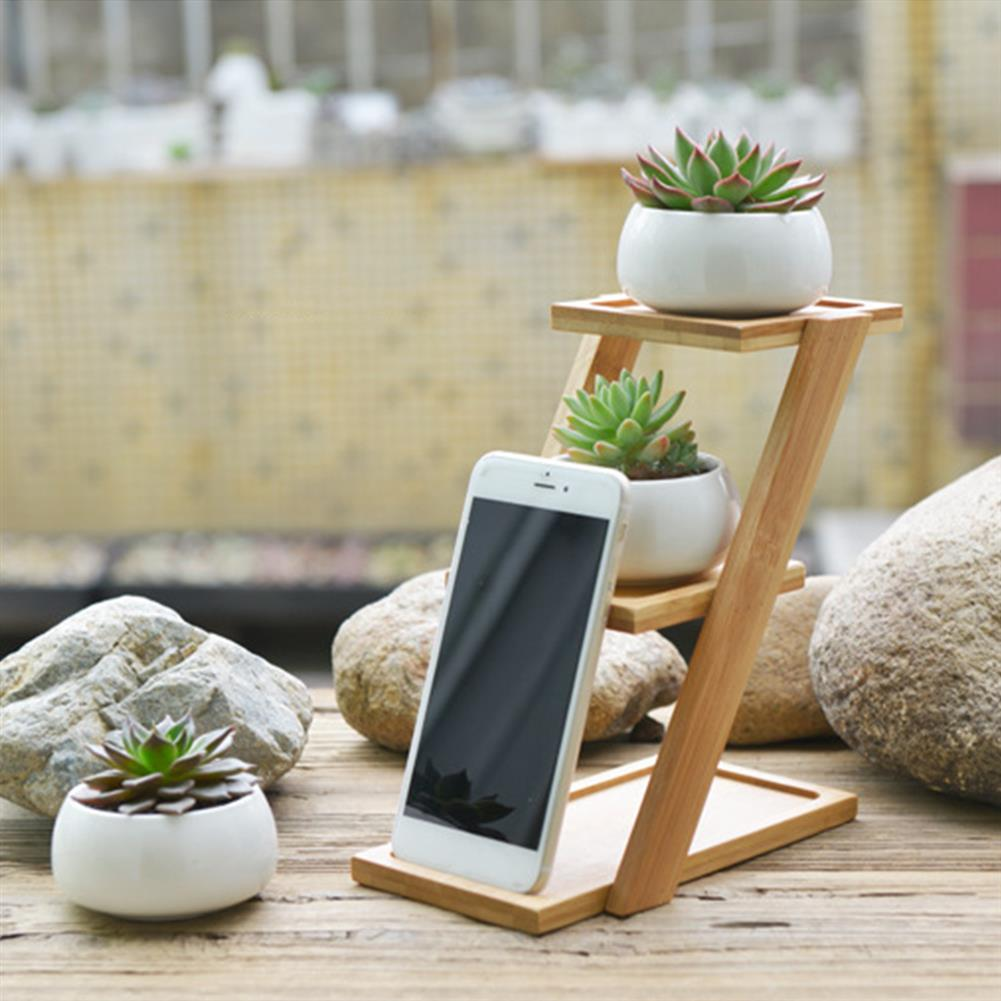 other-learning-office-supplies Bamboo Plant Stand Planter Holder 3 Layers with Ceramic Flower Pot Shelf Rack Phone Stand for Home Decoration HOB1771547 3 1