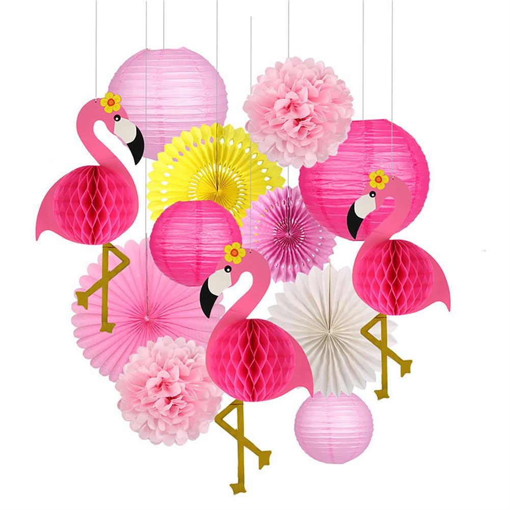 other-learning-office-supplies Tropical Pink Flamingo Decoration Set Pom Poms Paper Flowers Tissue Paper Fan Paper Lanterns for Hawaiian Summer Beach Party HOB1771777 1