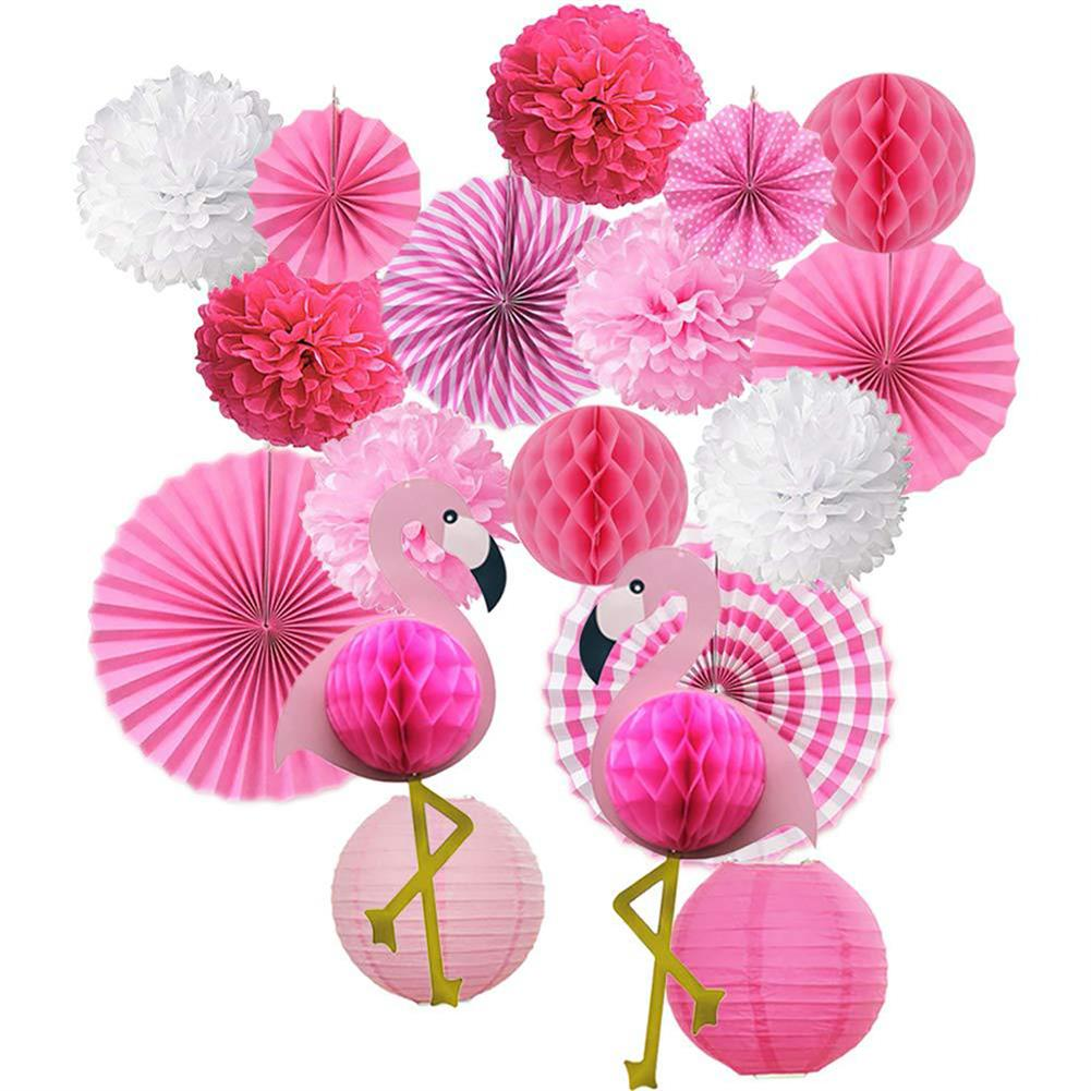 other-learning-office-supplies Tropical Pink Flamingo Decoration Set Pom Poms Paper Flowers Tissue Paper Fan Paper Lanterns for Hawaiian Summer Beach Party HOB1771777 1 1