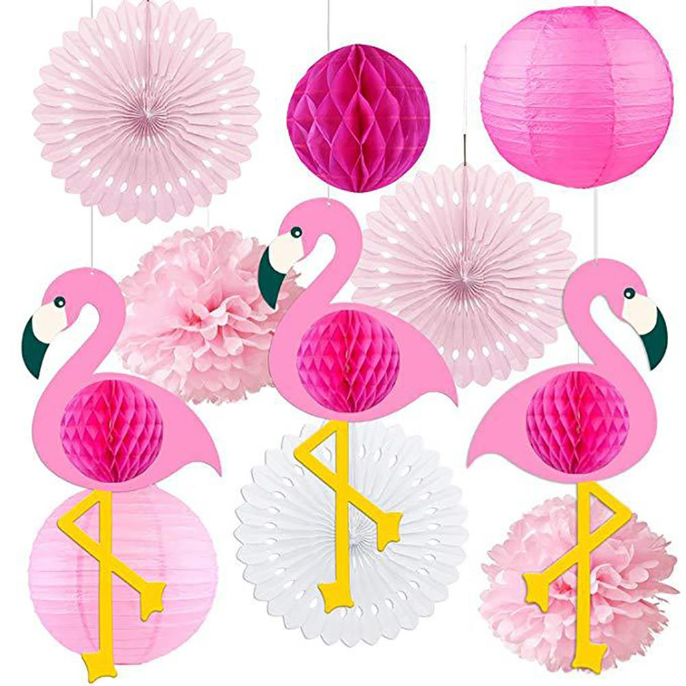 other-learning-office-supplies Tropical Pink Flamingo Decoration Set Pom Poms Paper Flowers Tissue Paper Fan Paper Lanterns for Hawaiian Summer Beach Party HOB1771777 2 1