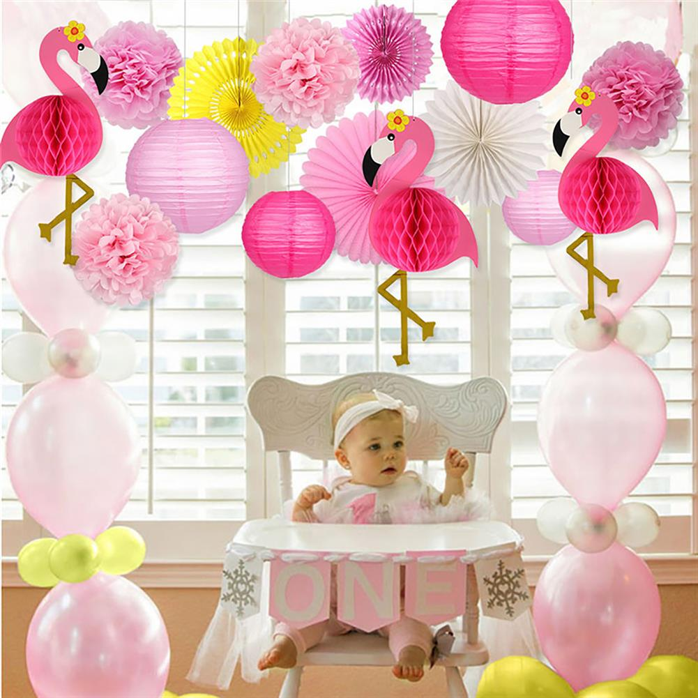 other-learning-office-supplies Tropical Pink Flamingo Decoration Set Pom Poms Paper Flowers Tissue Paper Fan Paper Lanterns for Hawaiian Summer Beach Party HOB1771777 3 1