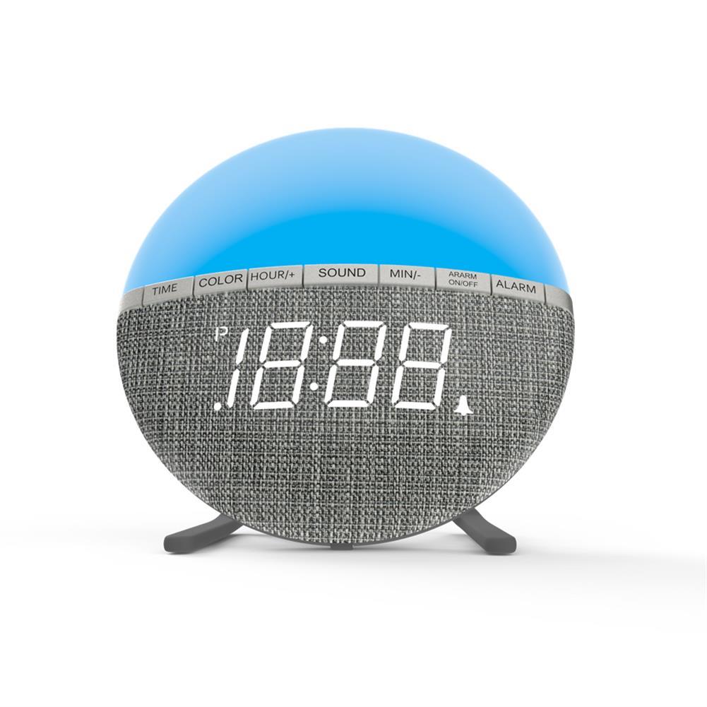 desktop-off-surface-shelves LED Colorful Fabric Alarm Clock Color Changing Bedside Alarm Clock Level 3 Night Light Control Desk Bedroom Clock HOB1772463 1