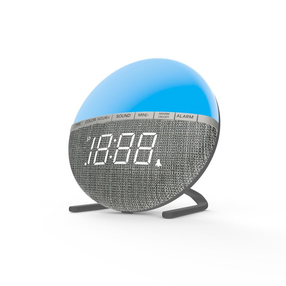desktop-off-surface-shelves LED Colorful Fabric Alarm Clock Color Changing Bedside Alarm Clock Level 3 Night Light Control Desk Bedroom Clock HOB1772463 3 1