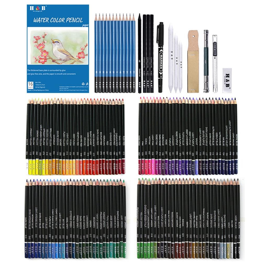 art-kit H&B HB-CBPB145 145Pcs Colored Sketching Pencils Set with High Quality Painting Tool Zipper Case for Professional Art Supplies HOB1772481 2 1