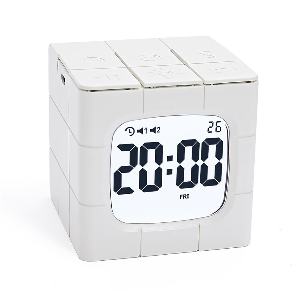 desktop-off-surface-shelves Magic Cube Alarm Clock LED Multifunctional Time Manager USB Charging Alarm Clock Timer Study Cooking Supplies HOB1773005 1