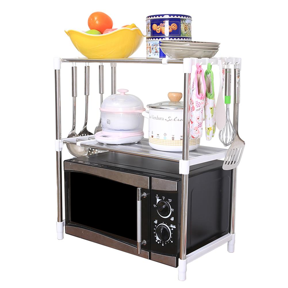 desktop-off-surface-shelves 2 Tier Telescopic Microwave Oven Storage Rack Stainless Steel Adjustable Standing Storage Caddy Household Kitchen Storage HOB1773059 1
