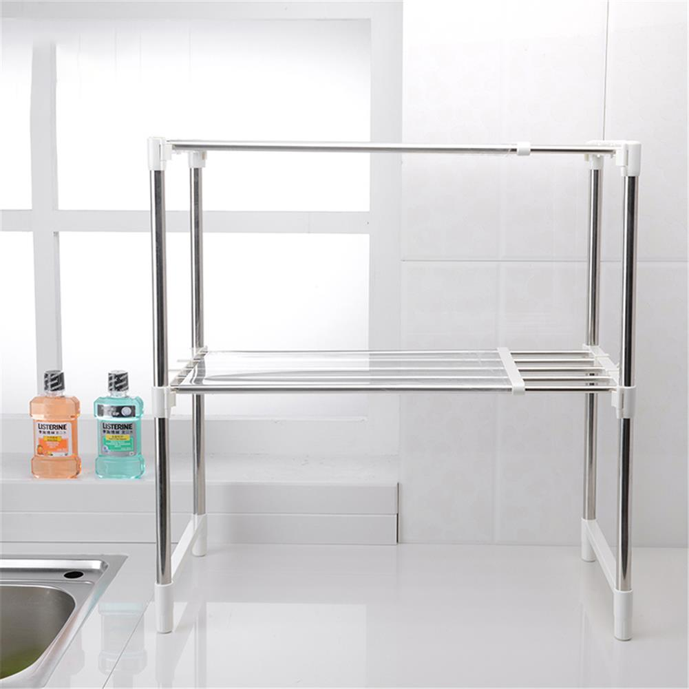 desktop-off-surface-shelves 2 Tier Telescopic Microwave Oven Storage Rack Stainless Steel Adjustable Standing Storage Caddy Household Kitchen Storage HOB1773059 1 1