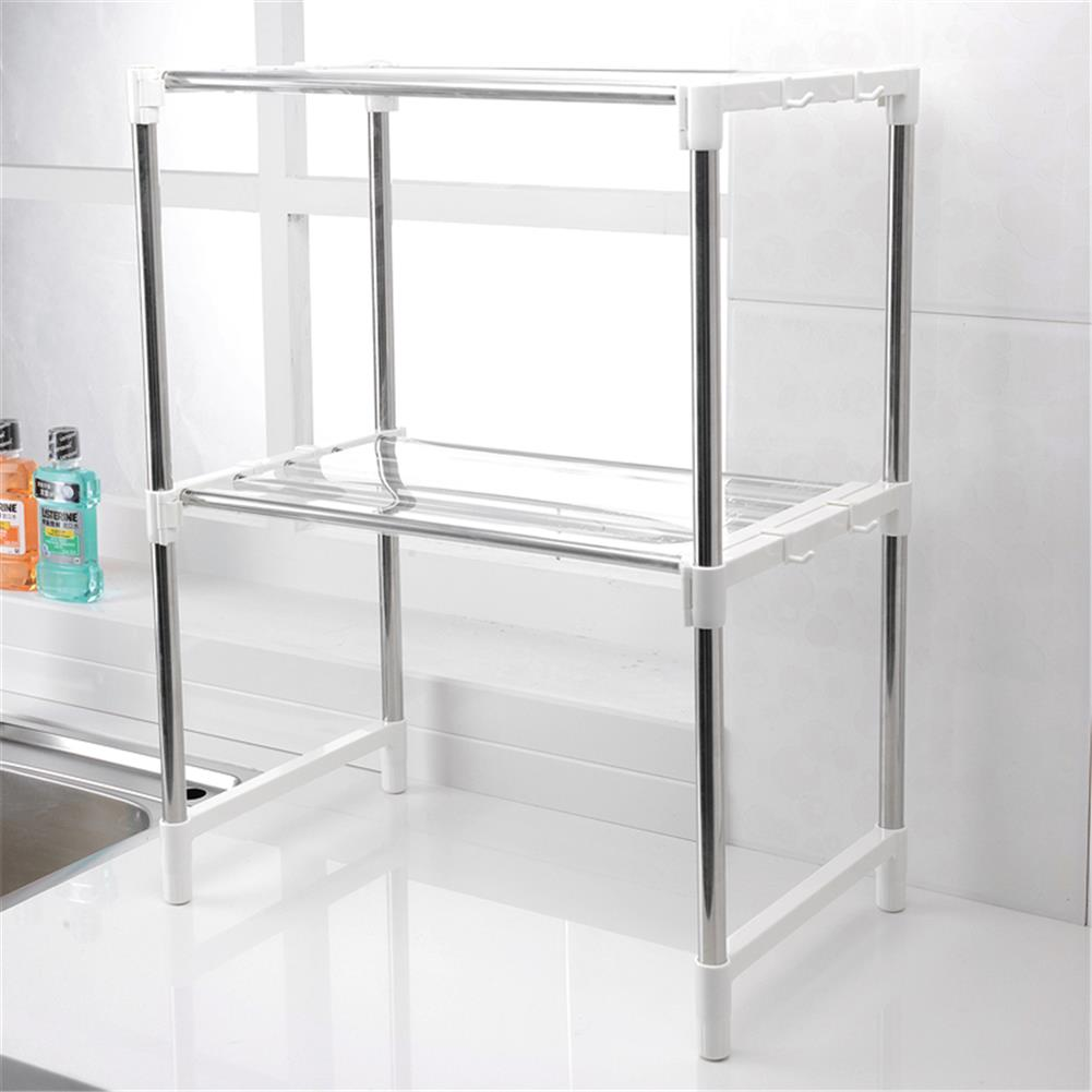 desktop-off-surface-shelves 2 Tier Telescopic Microwave Oven Storage Rack Stainless Steel Adjustable Standing Storage Caddy Household Kitchen Storage HOB1773059 2 1