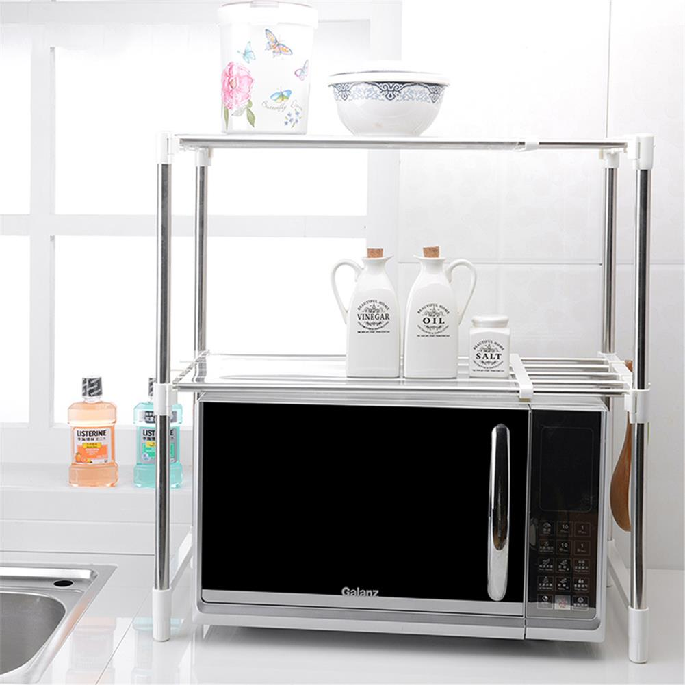 desktop-off-surface-shelves 2 Tier Telescopic Microwave Oven Storage Rack Stainless Steel Adjustable Standing Storage Caddy Household Kitchen Storage HOB1773059 3 1