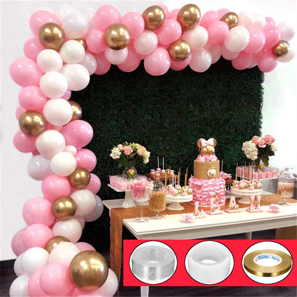 other-learning-office-supplies 112Pcs Balloon Garland Arched Set Pink White Golden Balloon Bag for Girl Birthday Baby Shower Single Girl Party Decoration HOB1773060 3 1