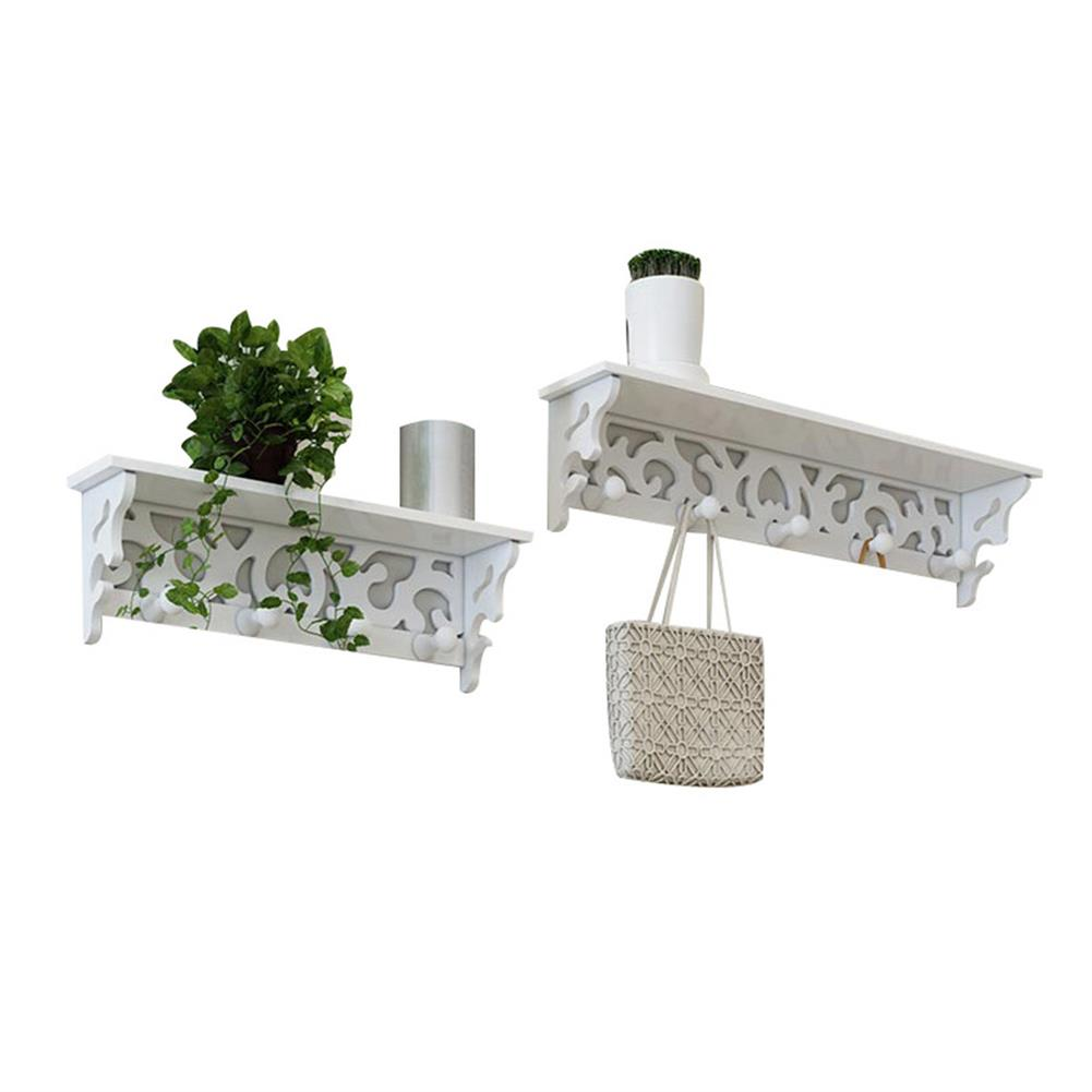 other-learning-office-supplies 2Pcs Wall Rack Set White PVC Hollowed Curved Design 4&5 Hook Wall installing Rack Home Decoration Shelf HOB1773114 1