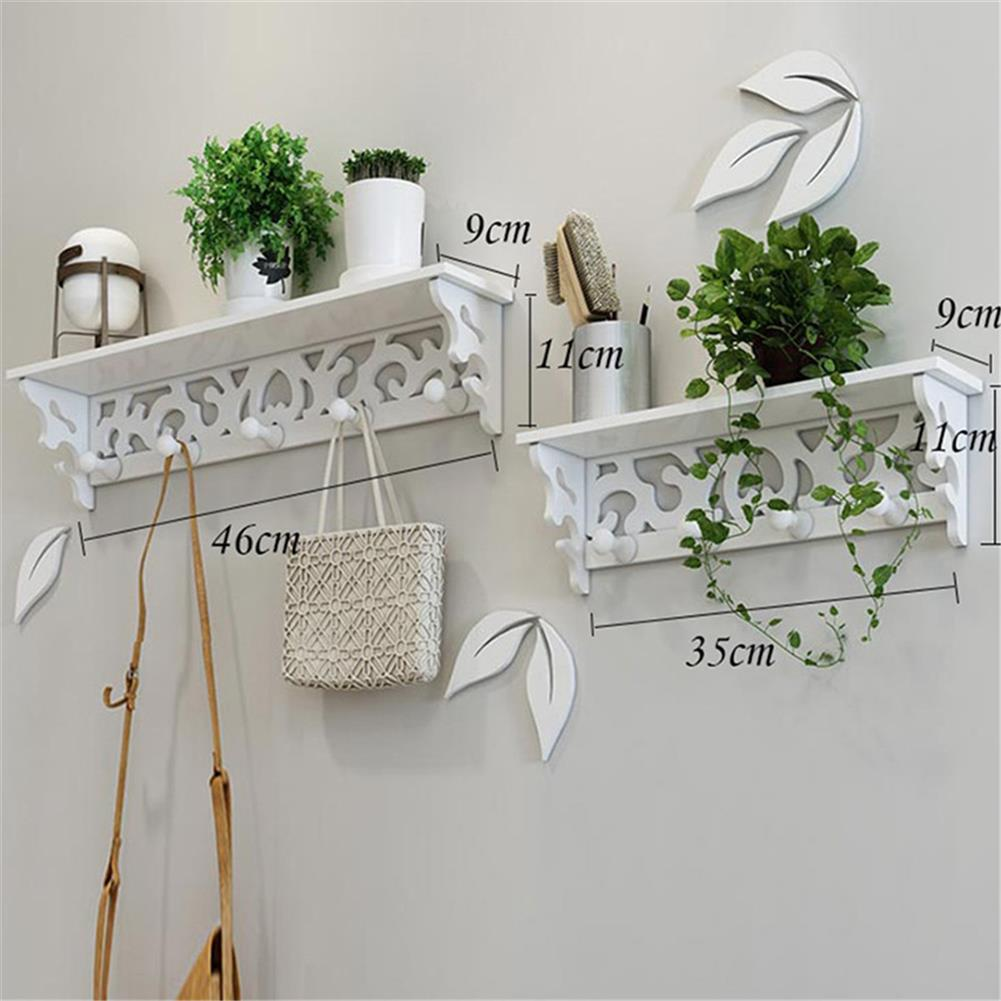 other-learning-office-supplies 2Pcs Wall Rack Set White PVC Hollowed Curved Design 4&5 Hook Wall installing Rack Home Decoration Shelf HOB1773114 1 1