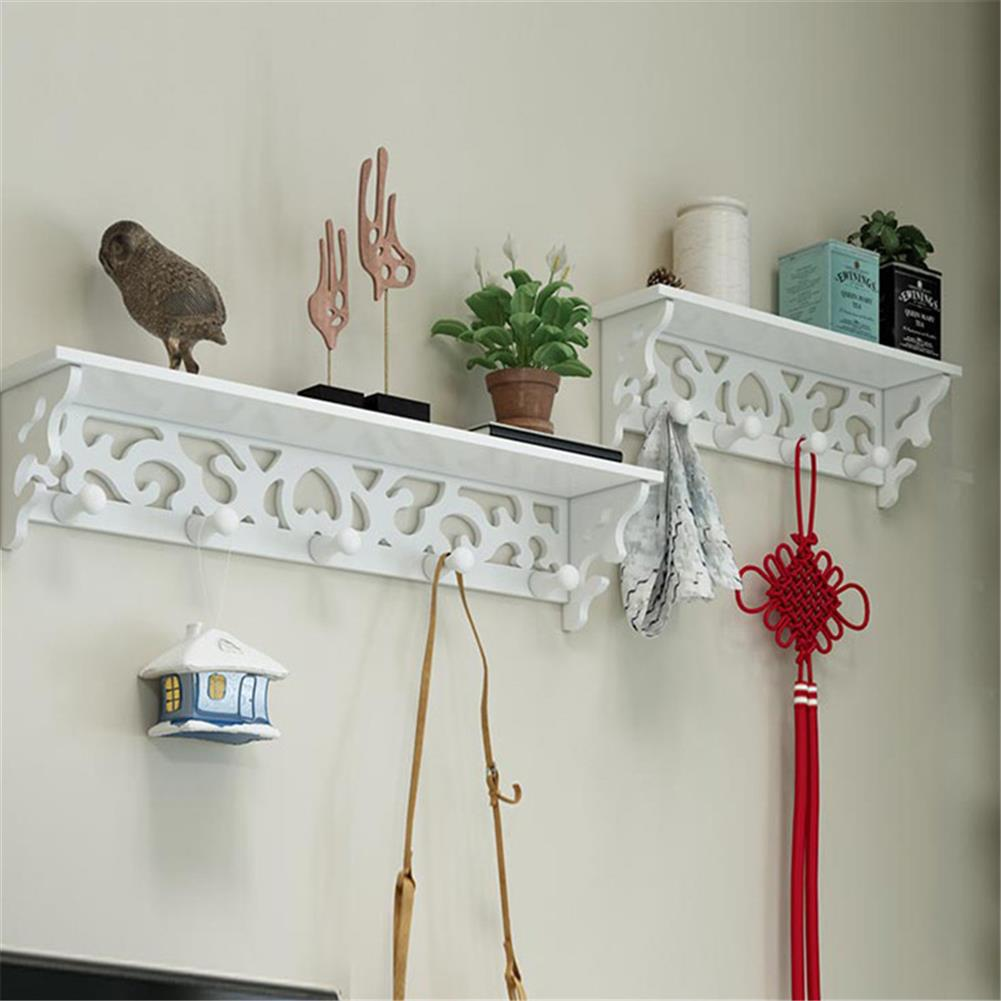 other-learning-office-supplies 2Pcs Wall Rack Set White PVC Hollowed Curved Design 4&5 Hook Wall installing Rack Home Decoration Shelf HOB1773114 2 1