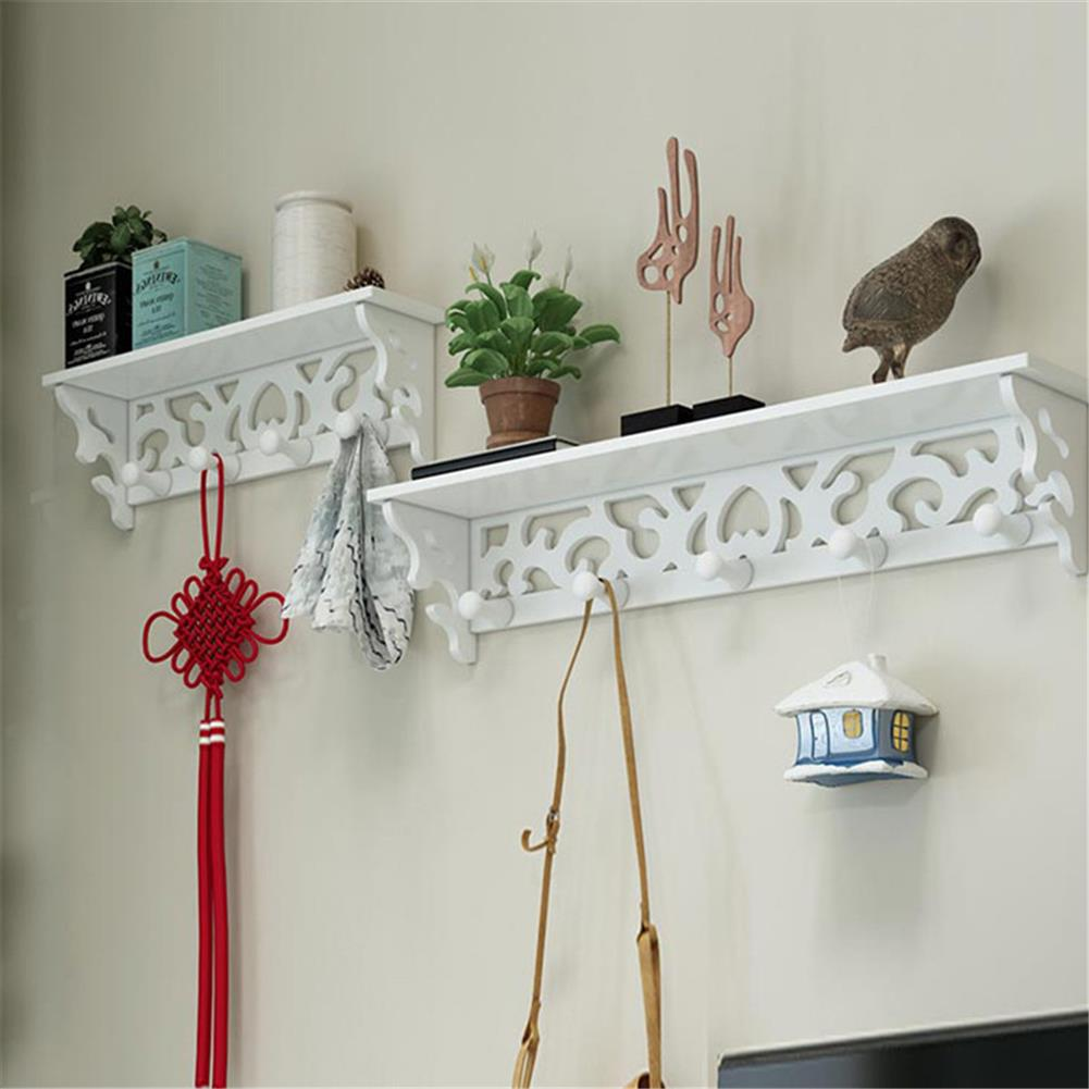 other-learning-office-supplies 2Pcs Wall Rack Set White PVC Hollowed Curved Design 4&5 Hook Wall installing Rack Home Decoration Shelf HOB1773114 3 1