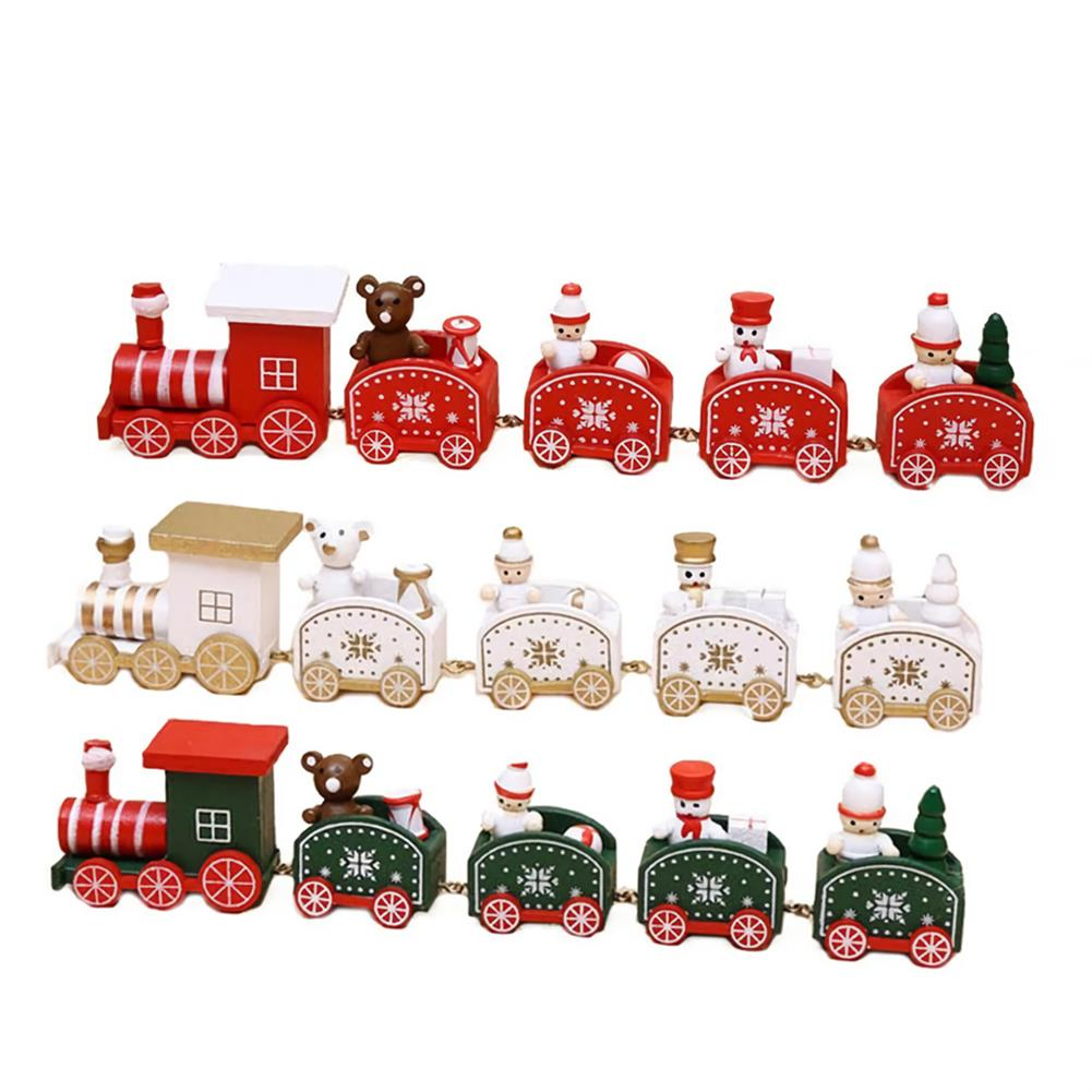 desktop-off-surface-shelves 5 Knots Christmas Little Train Wooden Train with Snowman Bear Christmas Decorations for Home Ornaments Gift Kids Toys HOB1773600 1