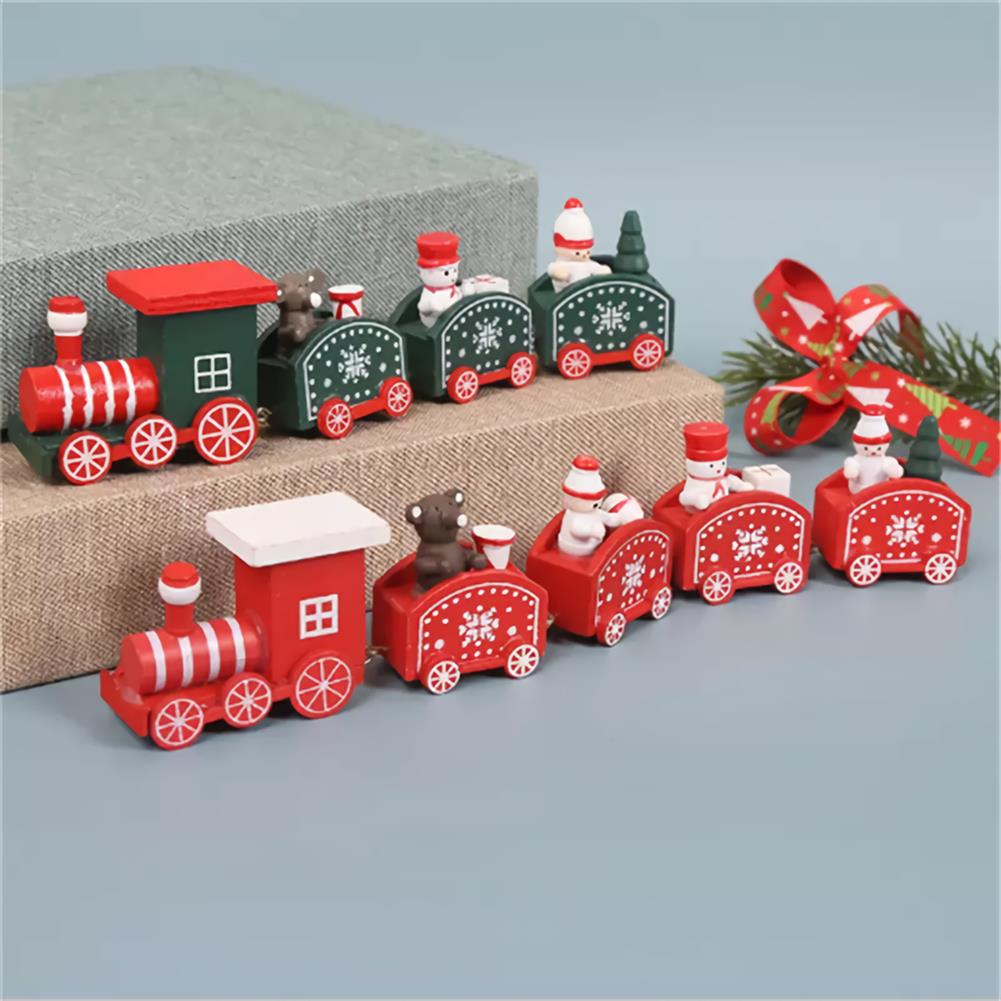 desktop-off-surface-shelves 5 Knots Christmas Little Train Wooden Train with Snowman Bear Christmas Decorations for Home Ornaments Gift Kids Toys HOB1773600 2 1