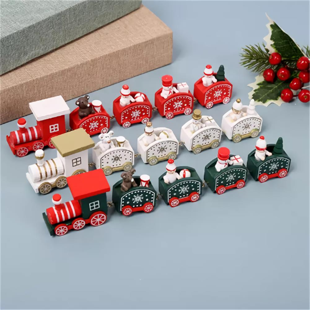 desktop-off-surface-shelves 5 Knots Christmas Little Train Wooden Train with Snowman Bear Christmas Decorations for Home Ornaments Gift Kids Toys HOB1773600 3 1