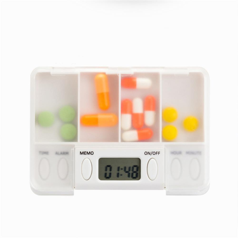 desktop-off-surface-shelves 4 Grid Pill Organizer Electronic Alarm Timing Reminder Drug Storage Box Mini Portable Container Household Supplies HOB1773845 1