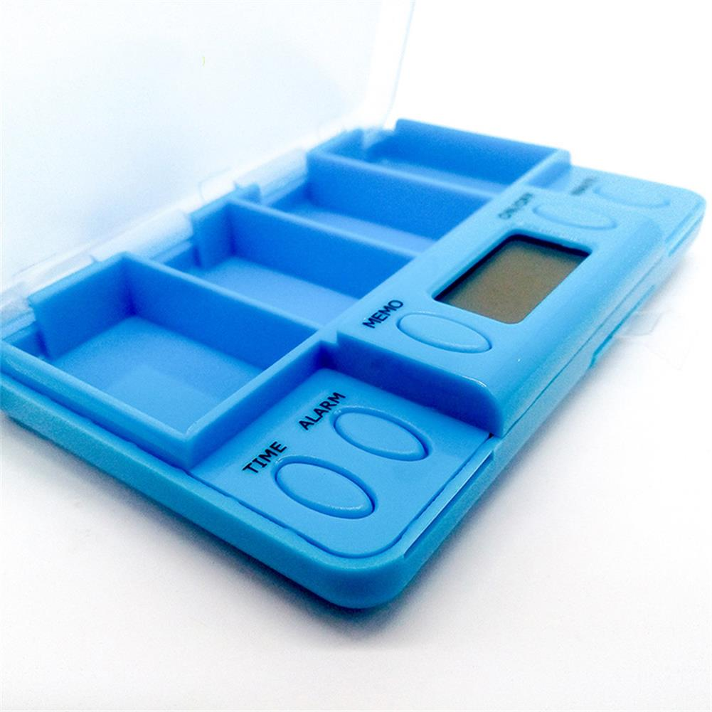 desktop-off-surface-shelves 4 Grid Pill Organizer Electronic Alarm Timing Reminder Drug Storage Box Mini Portable Container Household Supplies HOB1773845 2 1