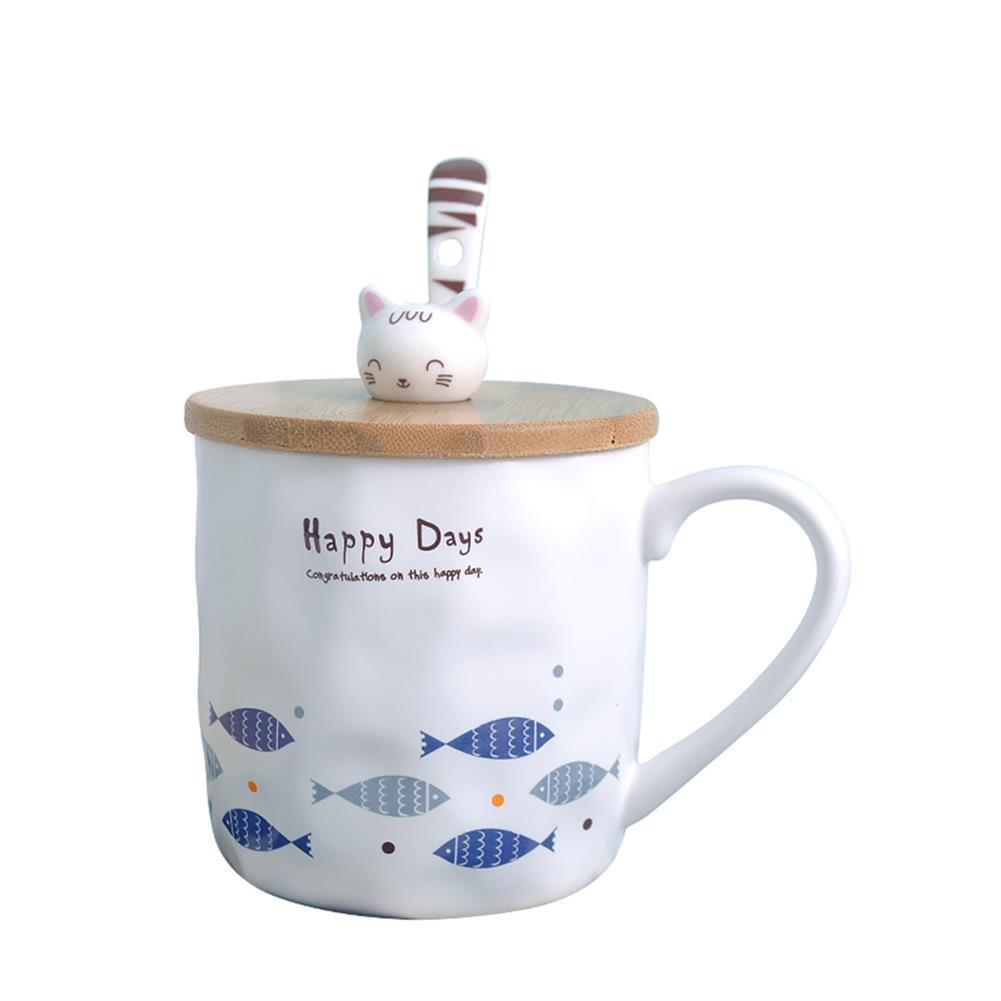 other-learning-office-supplies Cute Ceramic Mug Cup Fish Pattern with Wood Cat Shape Cup Cover And Spoon Mug for Home School office Decoration HOB1774199 1