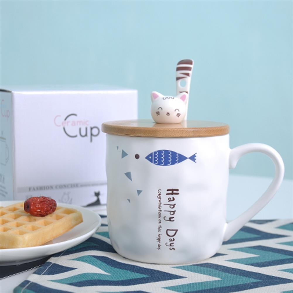 other-learning-office-supplies Cute Ceramic Mug Cup Fish Pattern with Wood Cat Shape Cup Cover And Spoon Mug for Home School office Decoration HOB1774199 3 1