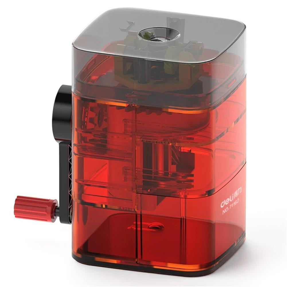 pencil-sharpener Deli 71162 Upper Pencil Sharpener Transparent Color Vertical Pen Feeding Automatic Core Breaking Pencil Sharpener for Kids HOB1774700 1 1