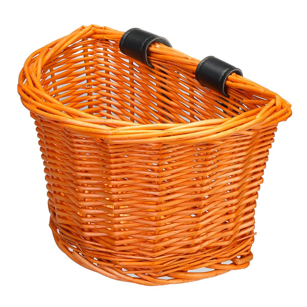 other-learning-office-supplies Vintage Rattan Bicycle Wicker Basket D-Shaped Bike Front Baskets Kids Cart Craftsmanship Handlebar Storage Shopping Box with Leather Straps HOB1774775 1