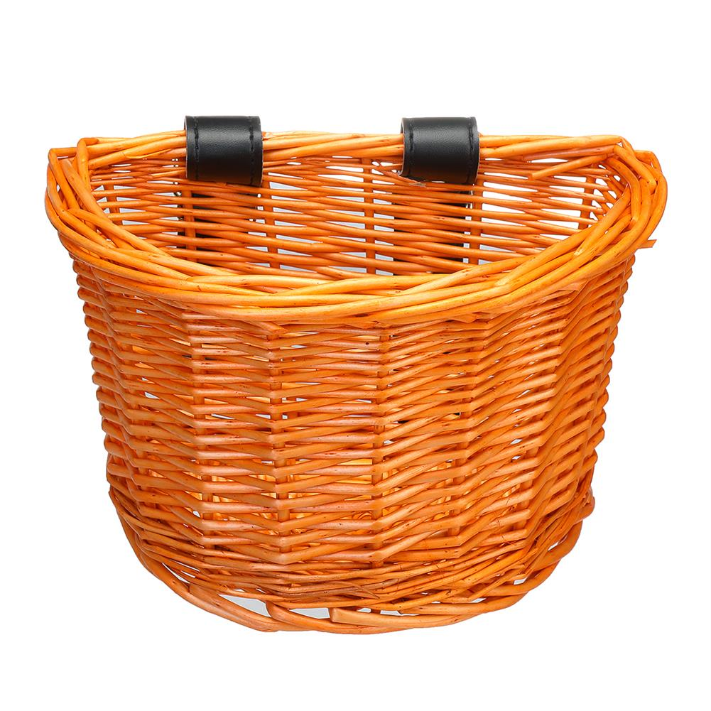 other-learning-office-supplies Vintage Rattan Bicycle Wicker Basket D-Shaped Bike Front Baskets Kids Cart Craftsmanship Handlebar Storage Shopping Box with Leather Straps HOB1774775 1 1