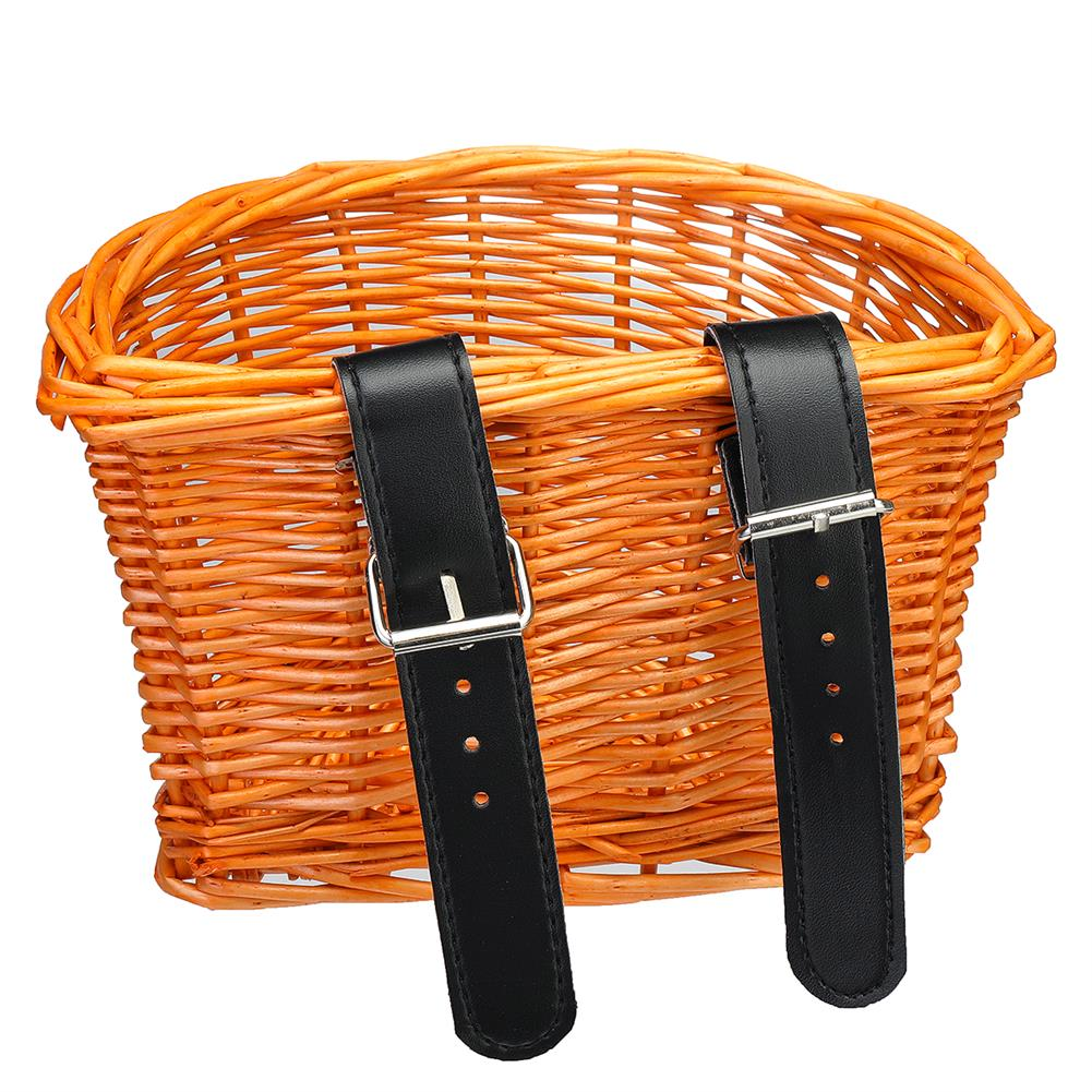 other-learning-office-supplies Vintage Rattan Bicycle Wicker Basket D-Shaped Bike Front Baskets Kids Cart Craftsmanship Handlebar Storage Shopping Box with Leather Straps HOB1774775 2 1