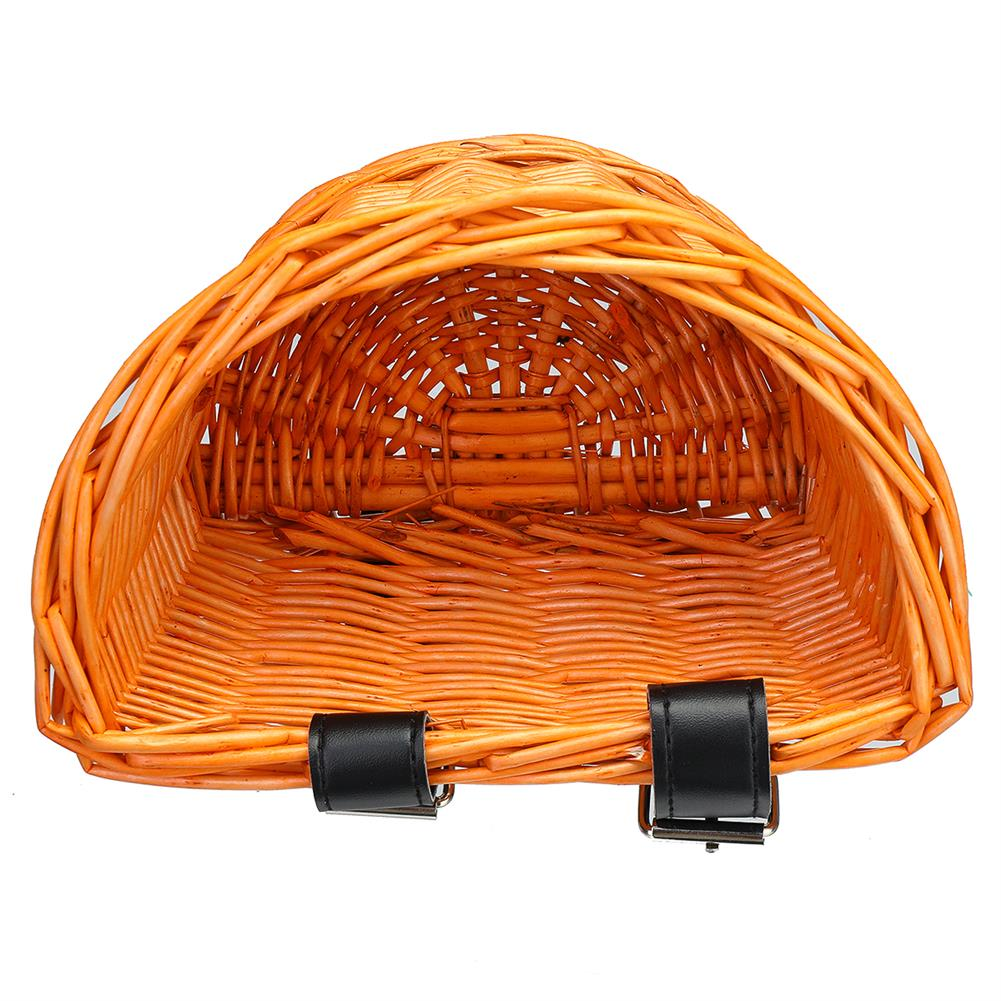other-learning-office-supplies Vintage Rattan Bicycle Wicker Basket D-Shaped Bike Front Baskets Kids Cart Craftsmanship Handlebar Storage Shopping Box with Leather Straps HOB1774775 3 1