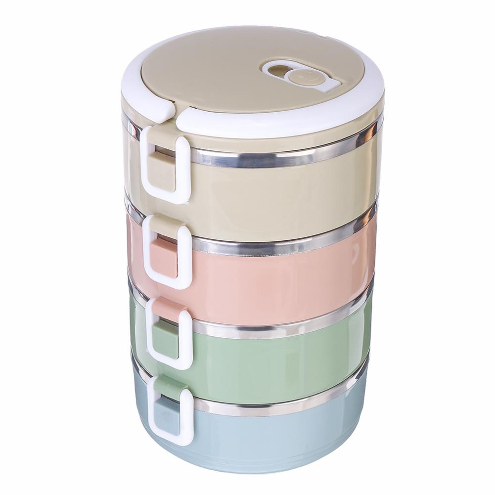 other-learning-office-supplies 2/3/4 Layers Stainless Steel Lunch Box Square Buckle thermal insulated Lunch Box Bento Food Container for School office HOB1774856 1