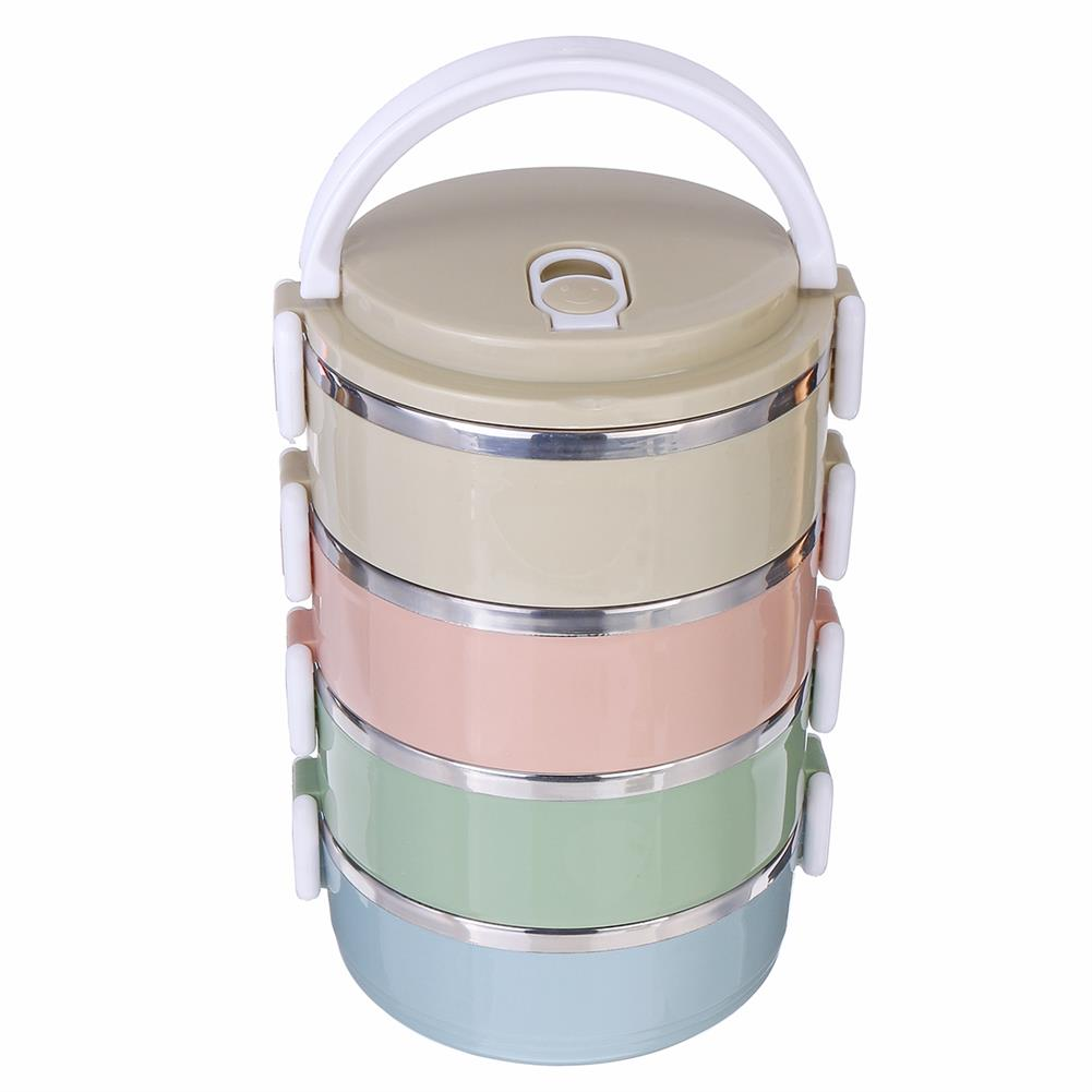 other-learning-office-supplies 2/3/4 Layers Stainless Steel Lunch Box Square Buckle thermal insulated Lunch Box Bento Food Container for School office HOB1774856 1 1