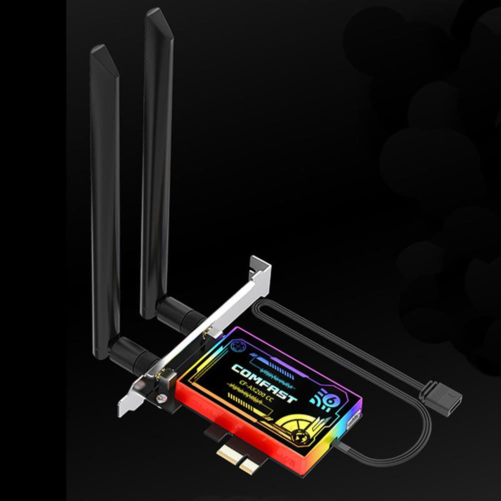 networking-adapters-antennas Comfast WiFi6 Adapter bluetooth PCIe WiFi Adapter AX200 2974Mbps bluetooth 5.1 Dual Antennas Support WPA3 for Desktop PC HOB1775074 1