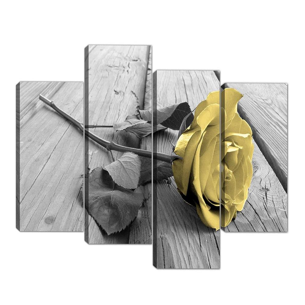 other-learning-office-supplies Yellow Rose Wall Picture Frameless Canvas Art Hanging Pictures Black White and Grey for Home Living Room office Wall Decoration HOB1775616 1