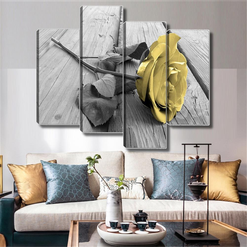 other-learning-office-supplies Yellow Rose Wall Picture Frameless Canvas Art Hanging Pictures Black White and Grey for Home Living Room office Wall Decoration HOB1775616 3 1
