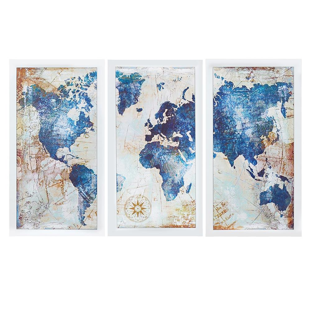 other-learning-office-supplies 3Pcs World Map Modern Wall Pictures Canvas Hanging Painting Home Living Room Decoration Unframed/Framed HOB1775654 1