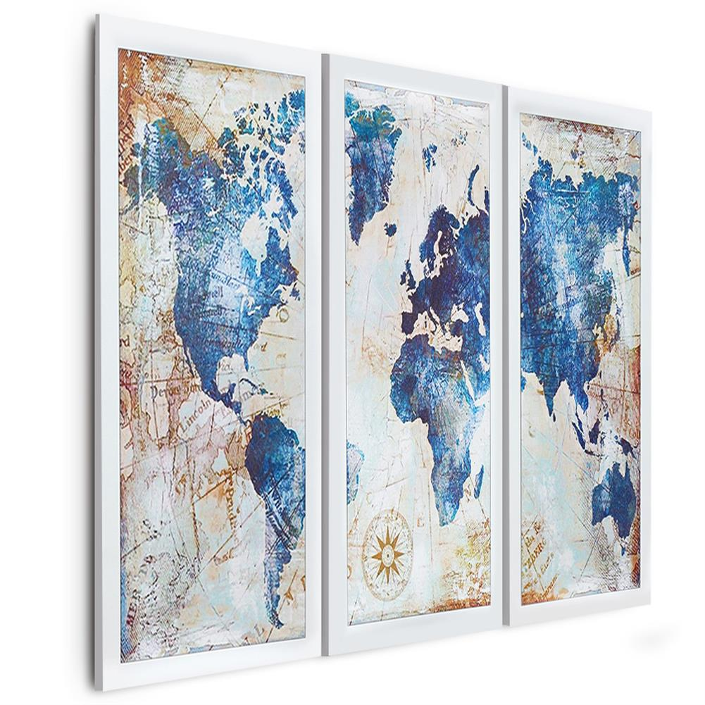 other-learning-office-supplies 3Pcs World Map Modern Wall Pictures Canvas Hanging Painting Home Living Room Decoration Unframed/Framed HOB1775654 1 1
