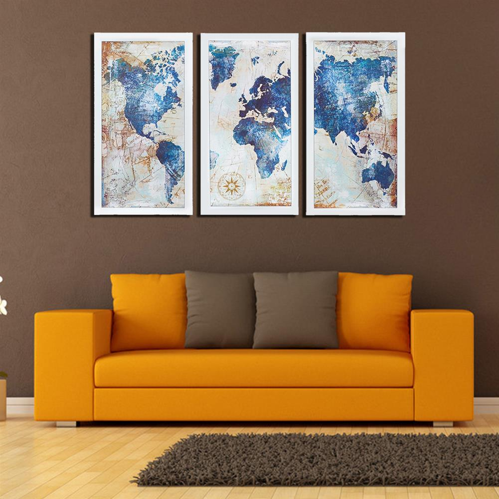 other-learning-office-supplies 3Pcs World Map Modern Wall Pictures Canvas Hanging Painting Home Living Room Decoration Unframed/Framed HOB1775654 2 1