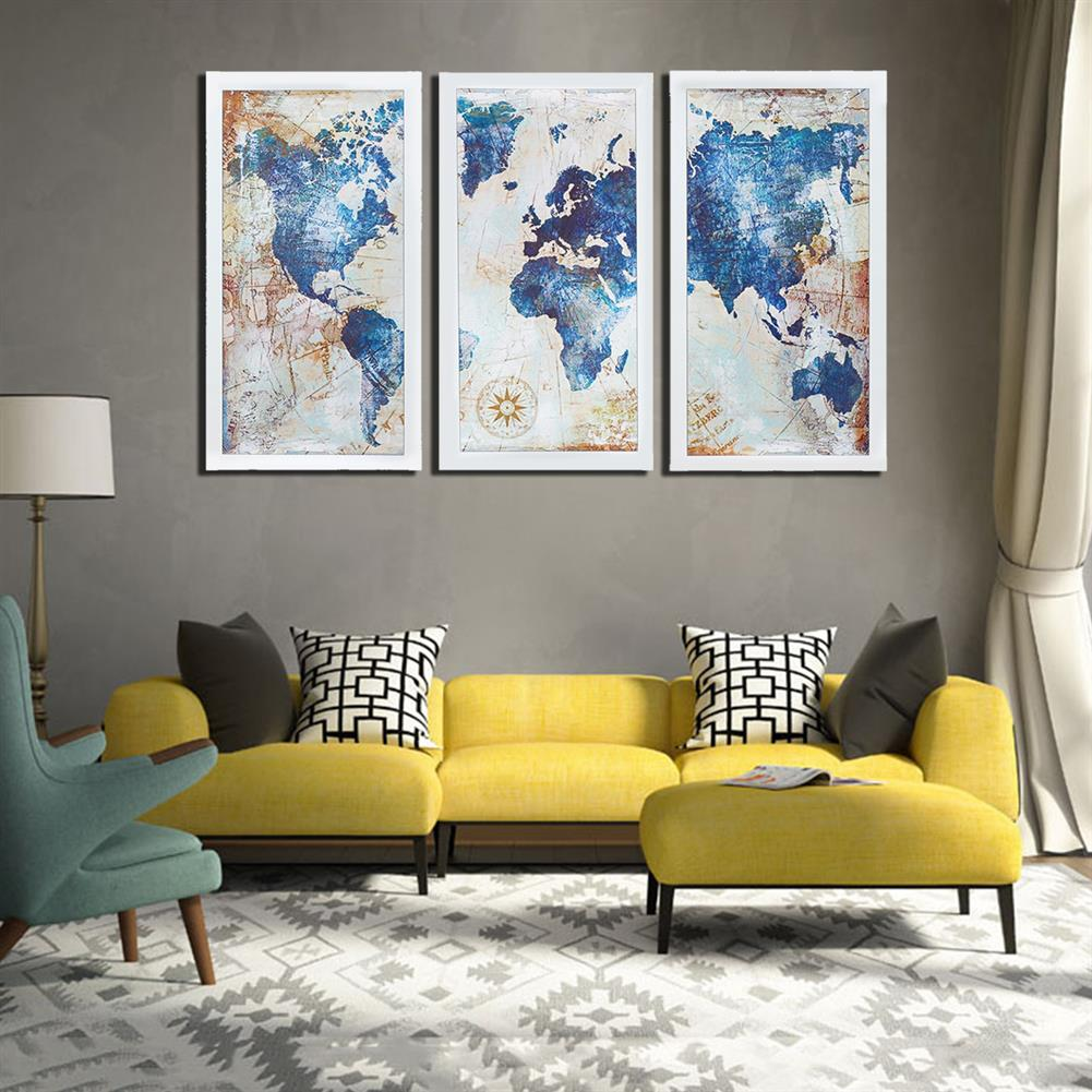 other-learning-office-supplies 3Pcs World Map Modern Wall Pictures Canvas Hanging Painting Home Living Room Decoration Unframed/Framed HOB1775654 3 1